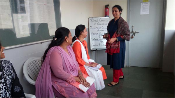 Placement In-charge, Mrs. Spoty Karthik giving instructions to S.Y.B.Ed students before the interviews