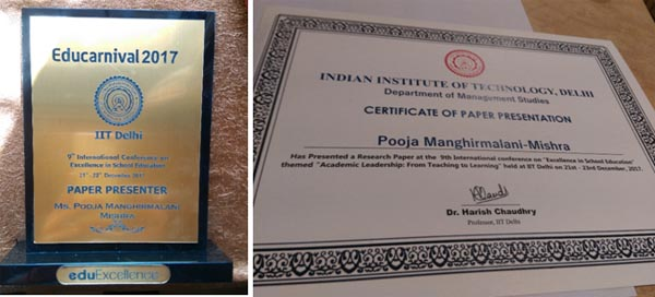 Momentum and Certificate awarded to Mrs. Pooja Manghirmalani Mishra for her outstanding contribution in educational research.