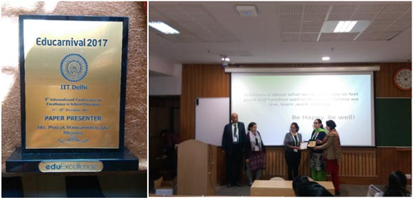 Dr. Radhika Vakharia and Mrs. Pooja Manghirmalani felicitated for their outstanding contribution in Educational Research