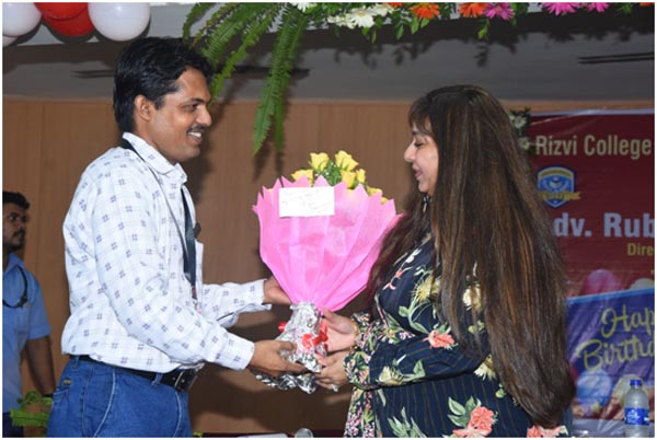 Principal RCoED, Mr. Gyanprakash Arya greeting Rubina madam